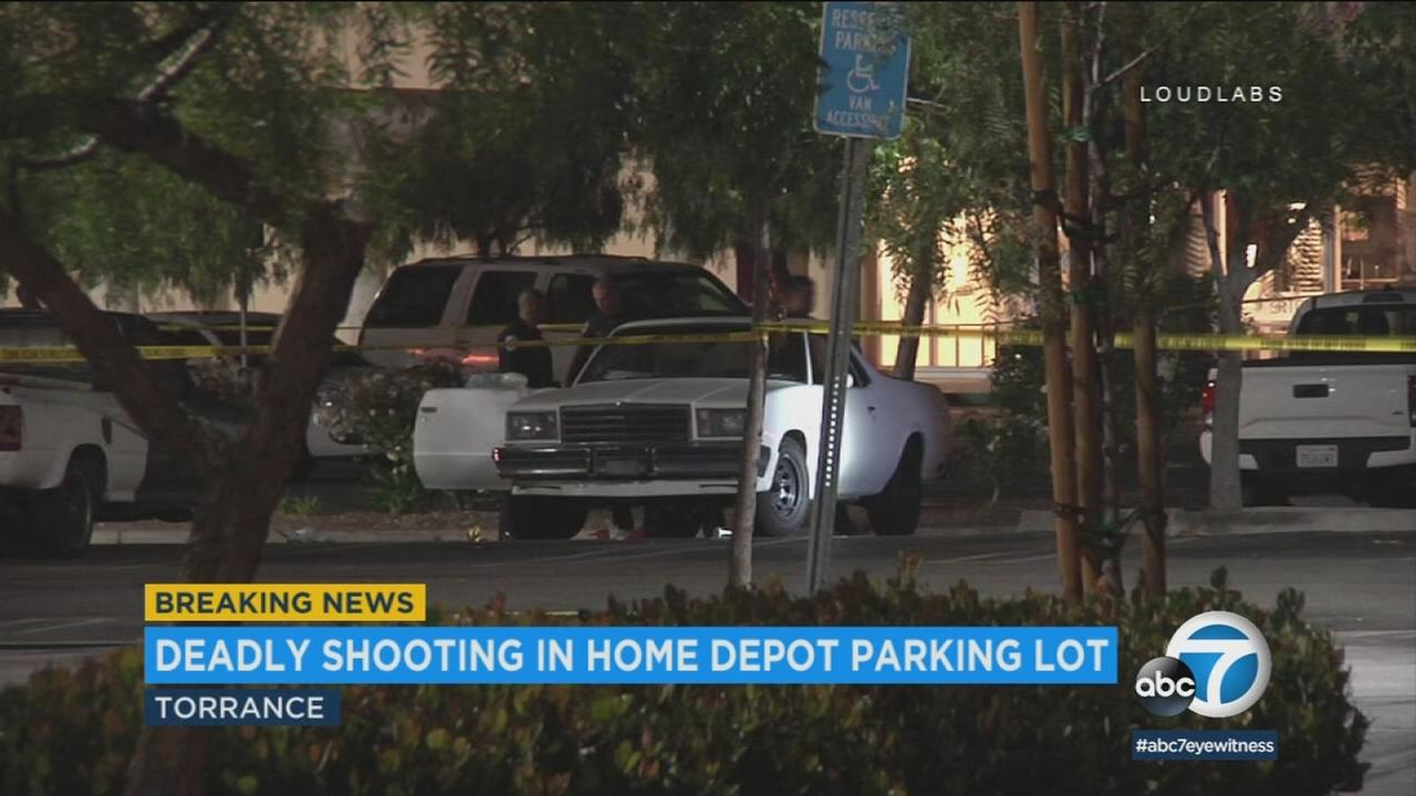 A Torrance Home Depot parking lot where a shooting left a man dead on Tuesday, June 19, 2018.
