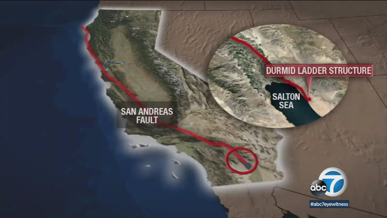 A graphic shows the 15-mile stretch of the Durmid ladder structure found near the Salton Sea.