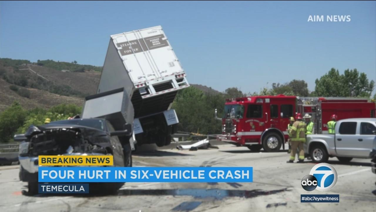 A crash involving multiple vehicles shut down the northbound lanes of the 15 Freeway in Temecula on Thursday, June 21, 2018.