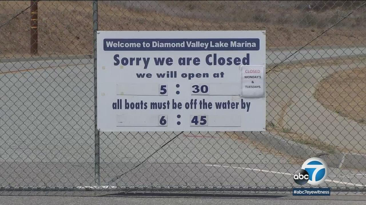 Cyanobacteria also known as blue-green algae has covered Diamond Valley Lake near Hemet, prompting officials to prohibit boating, fishing and hiking until further notice.