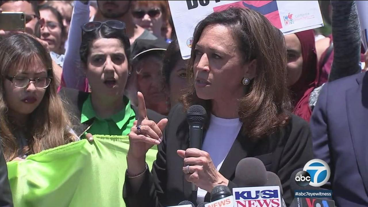 Sen. Kamala Harris visited with migrant mothers at San Diegos Otay Mesa Immigration and Detention Facility, which she called a prison.