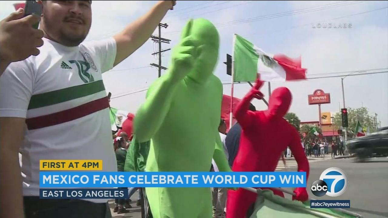 Mexico fans in Los Angeles celebrated their teams win over South Korea in the World Cup on Saturday, Amy Powell reports.