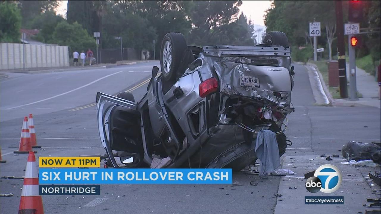 Six people, including a child, were hurt in a rollover crash believed to have been caused by a driver apparently under the influence in Northridge on Sunday, June 24, 2018.