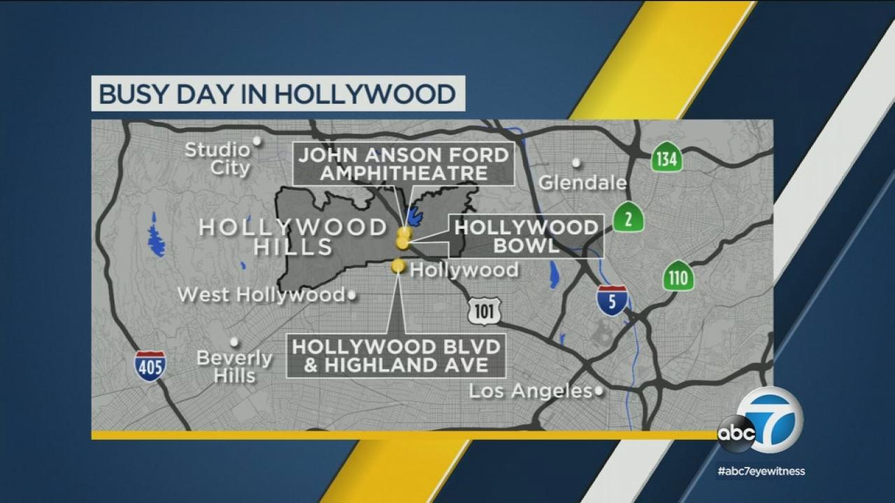 Monday events in Hollywood, including the premiere of Ant-Man and the Wasp, are shaping up to cause tie-ups in the area.