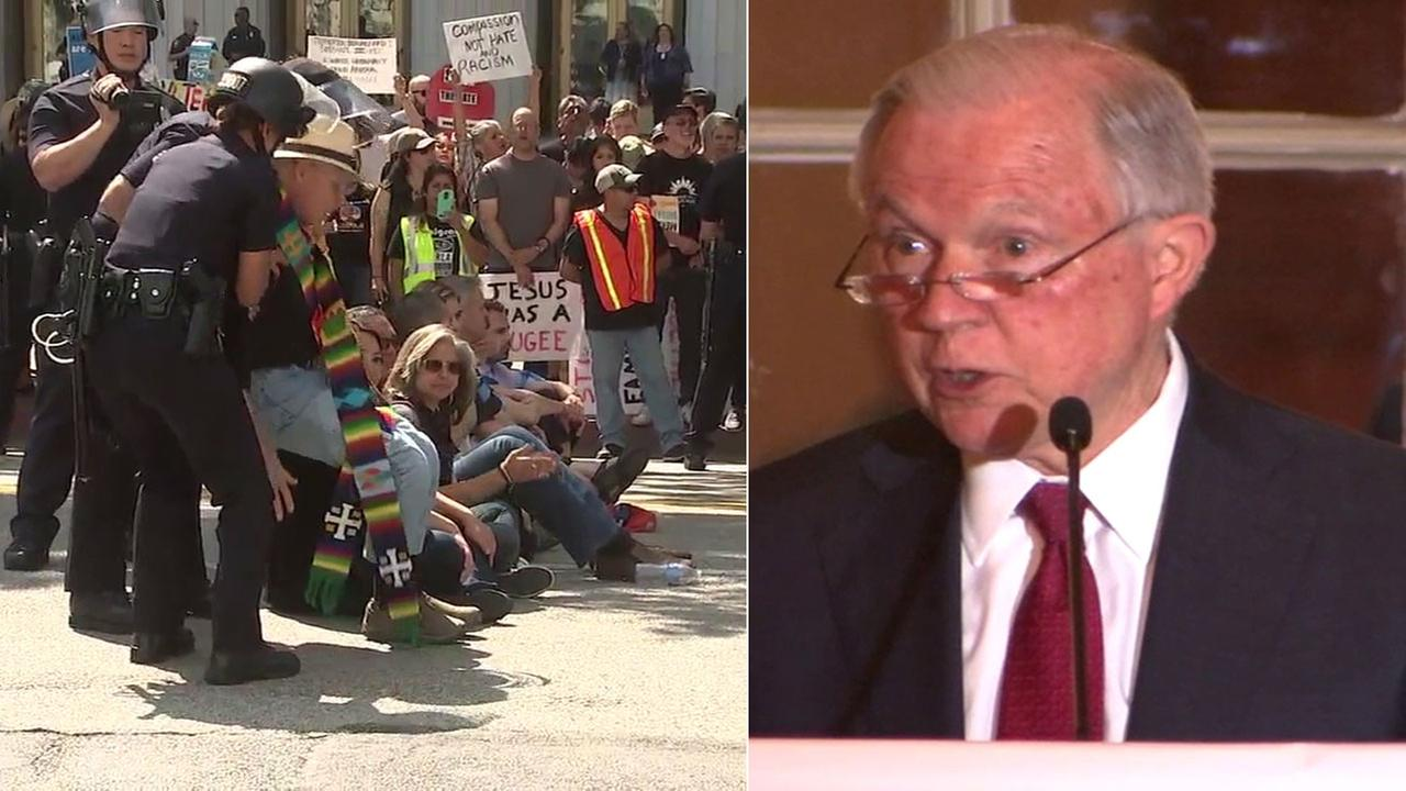 About two dozen people were arrested at an immigration-policy protest as Attorney General Jeff Sessions spoke nearby at a Los Angeles hotel.