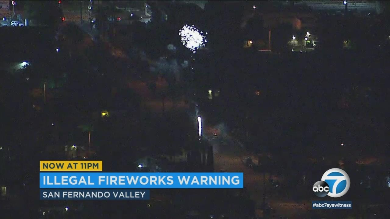 A week before July 4, AIR7 HD captured video of an illegal display of fireworks in the San Fernando Valley.