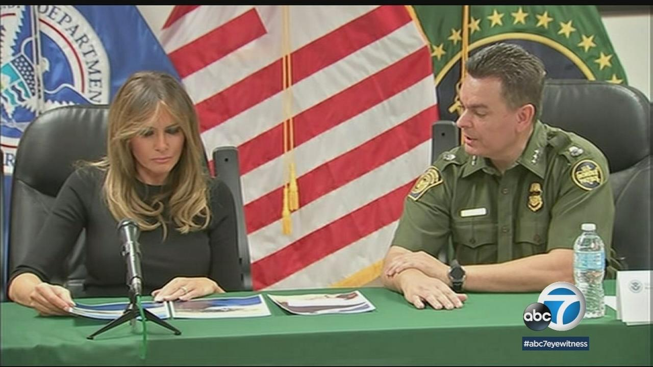 First lady Melania Trump toured a detention facility and met with local community members during a second visit to the border, where she discussed immigration policy.