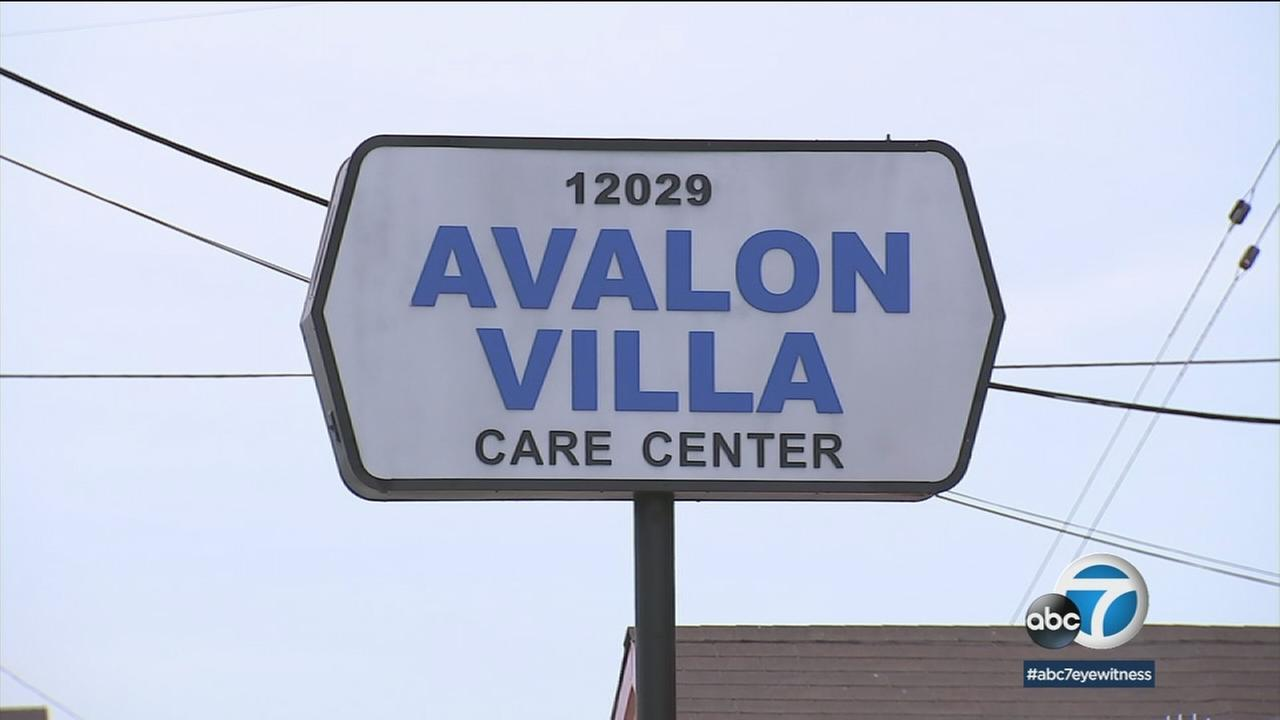 The sign of Avalon Villa Care Center is shown in a photo.