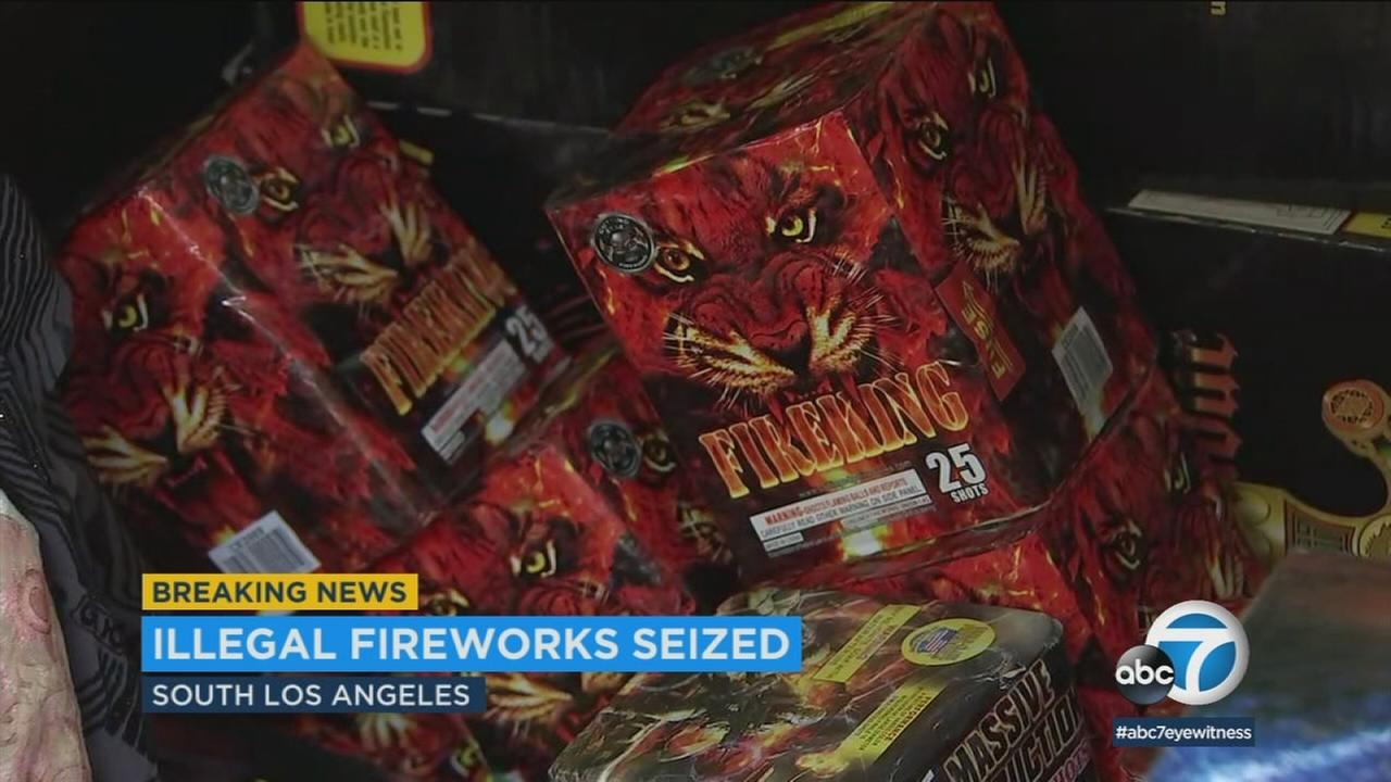 Police confiscated between 1,500-2,000 pounds of high-powered fireworks from a South LA home and arrested an alleged supplier at the scene.