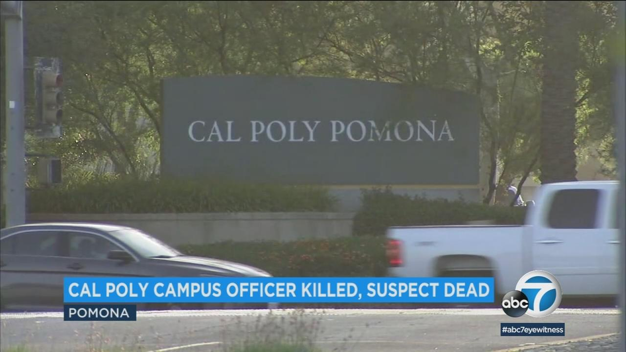 A Cal Poly Pomona public security specialist was stabbed to death and a suspect died in an officer-involved shooting on the campus Friday afternoon.