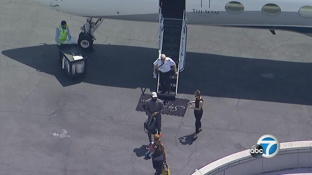 LeBron James spotted by AIR7 HD landing at Van Nuys Airport on Sunday, June 30, 2018.