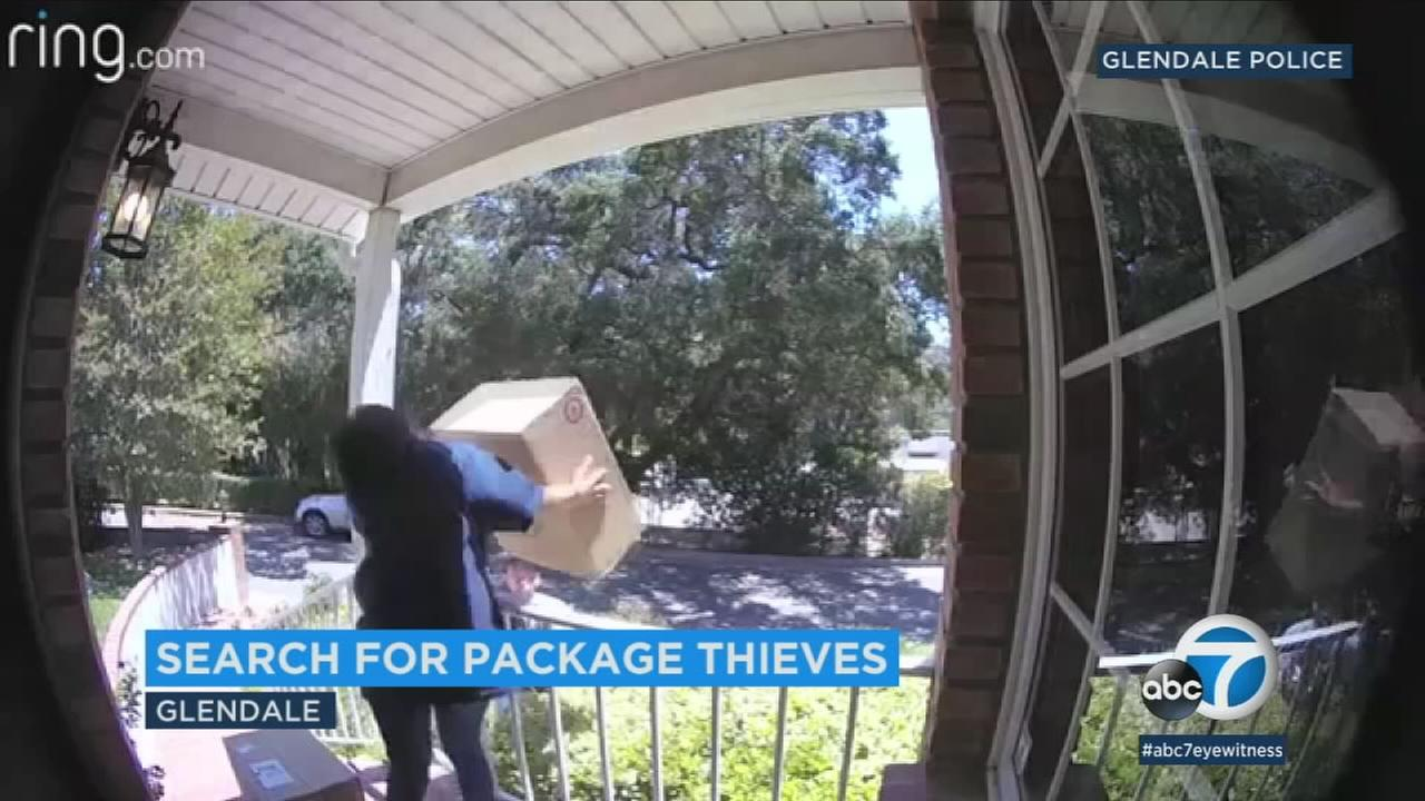 Video surveillance caught a woman and a man working in tandem to remove packages from the front porch of at least two different Glendale homes.