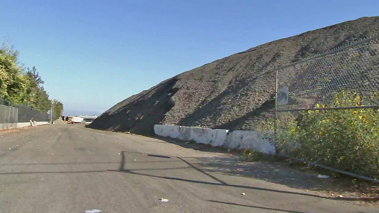 A mound of asphalt debris is seen in Lake Balboa on Monday, Oct. 27, 2014.