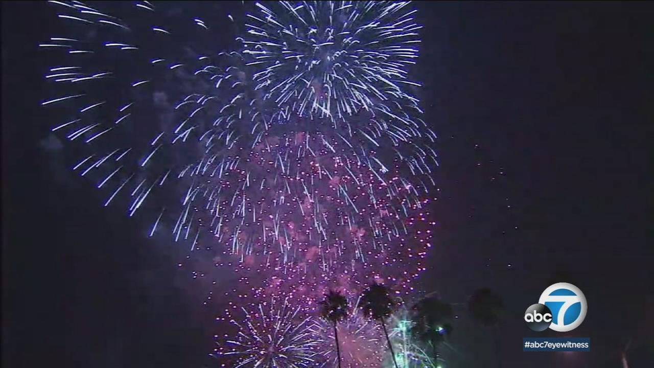 Fireworks are shown at Americafest at the Rose Bowl in Pasadena in a file photo.