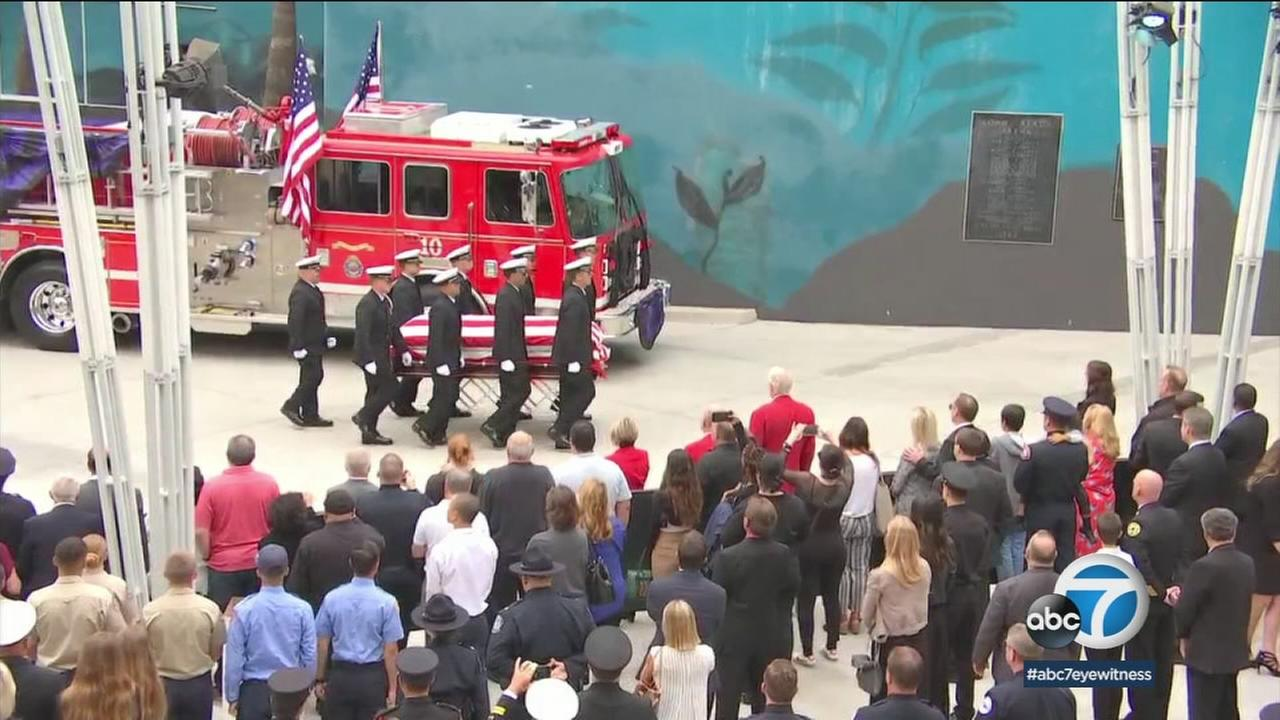 A public memorial service was held Tuesday for Long Beach Fire Department Capt. David Rosa, who was killed in the line of duty last week.