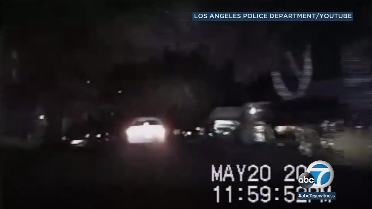 Dramatic LAPD video shows a wild car-to-car shootout during a chase in Highland Park.
