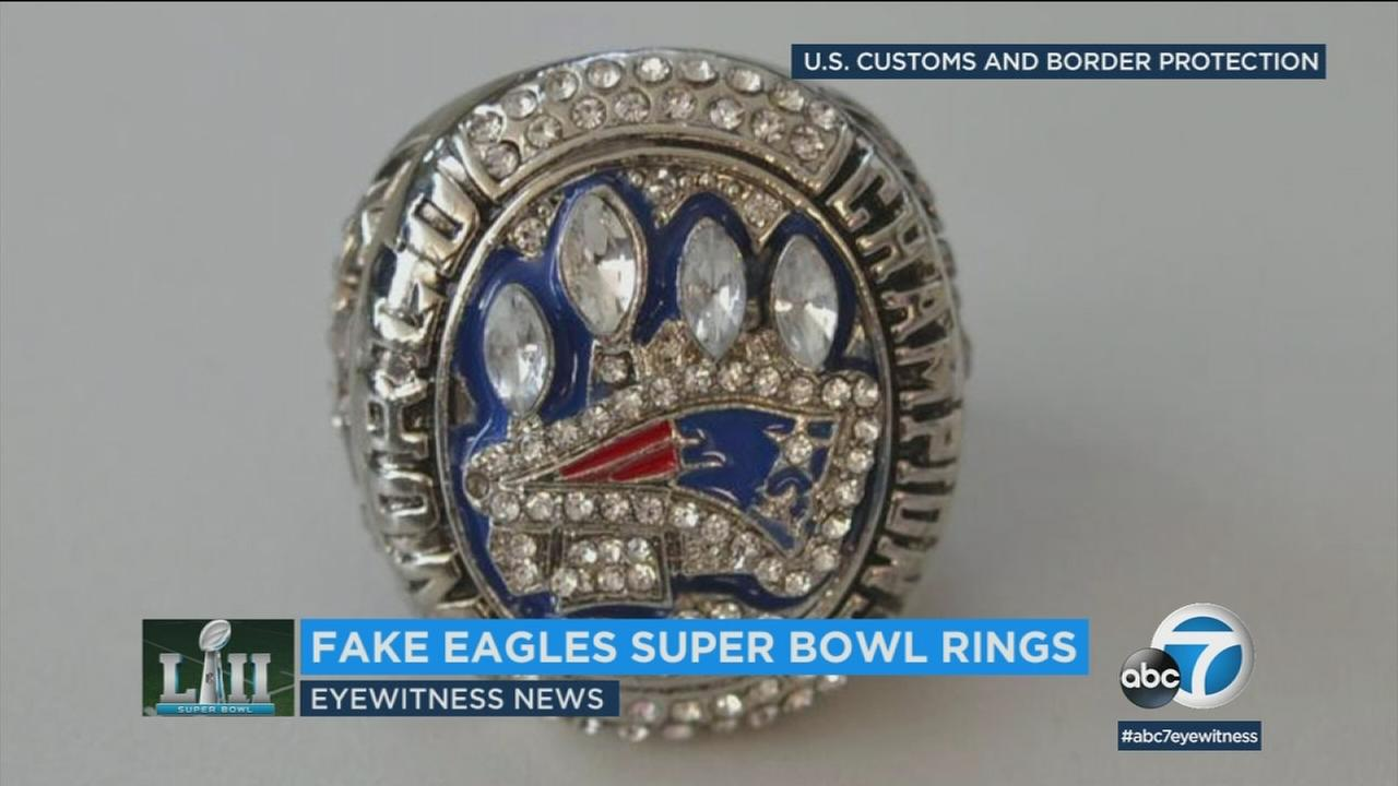 U.S. Customs officials seized a shipment of several dozen fake replica Super Bowl rings from Hong Kong.