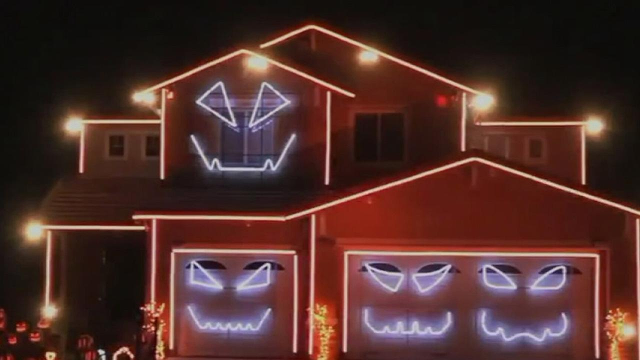 A house in Riverside is decked out for Halloween.