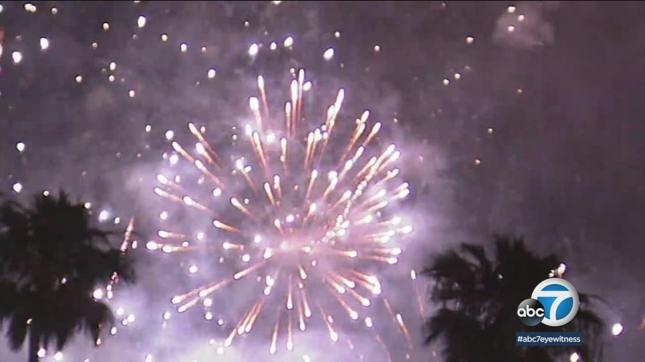 For nearly 20 minutes, some 2.5 tons of fireworks were shot into the night sky, making it the largest fireworks display in the Rose Bowls 92-year history.