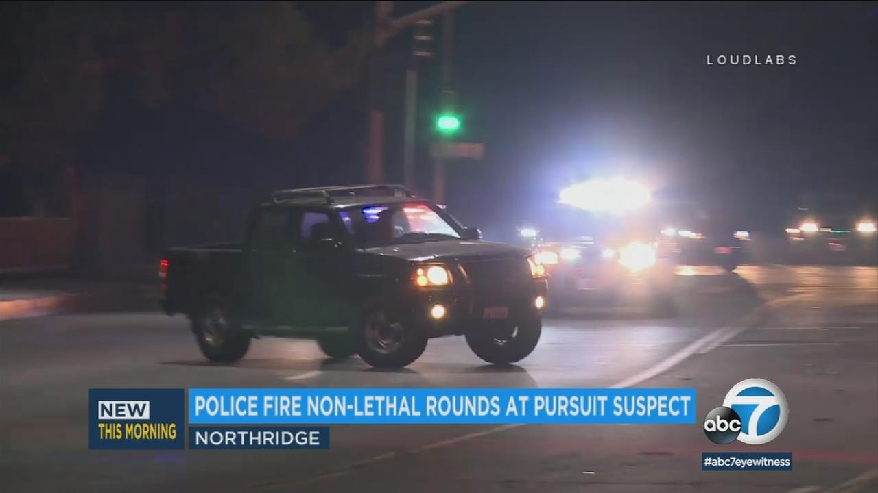 A wild chase through the San Fernando Valley ended with police firing non-lethal rounds to take the driver into custody early Thursday morning.