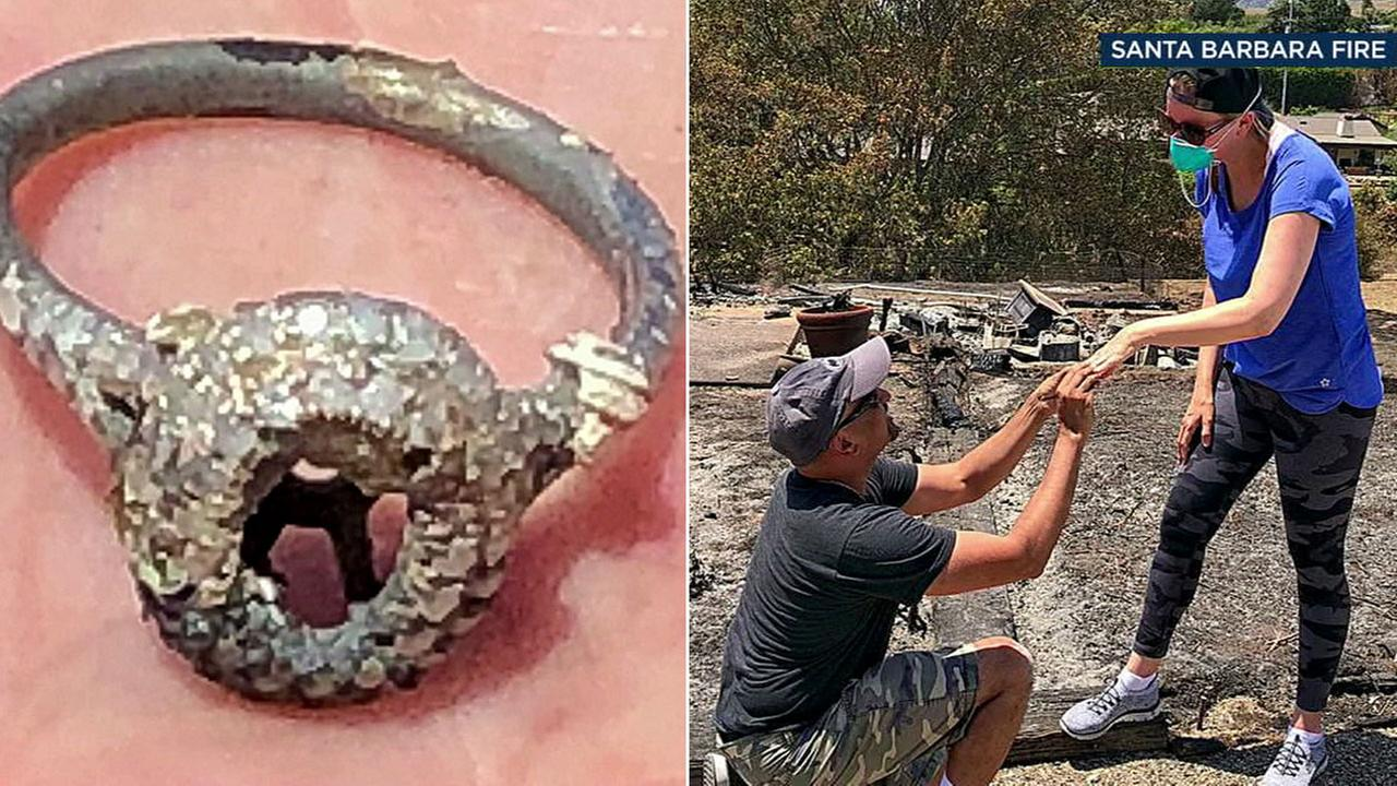A SoCal couple who lost their home in a wildfire made a new happy memory Sunday amid the ashes when they found what was left of the wifes wedding and engagement rings.