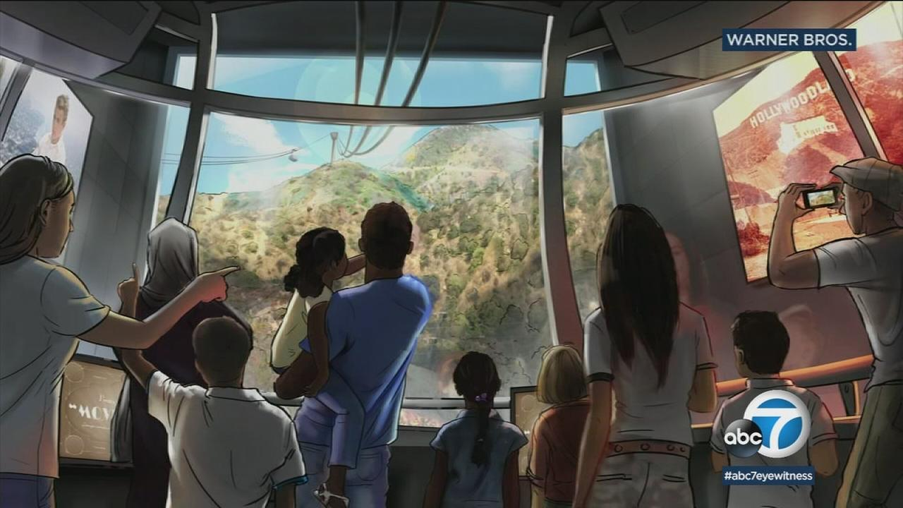 A rendering shows what an aerial tramway that would take guests to the Hollywood sign would look like.