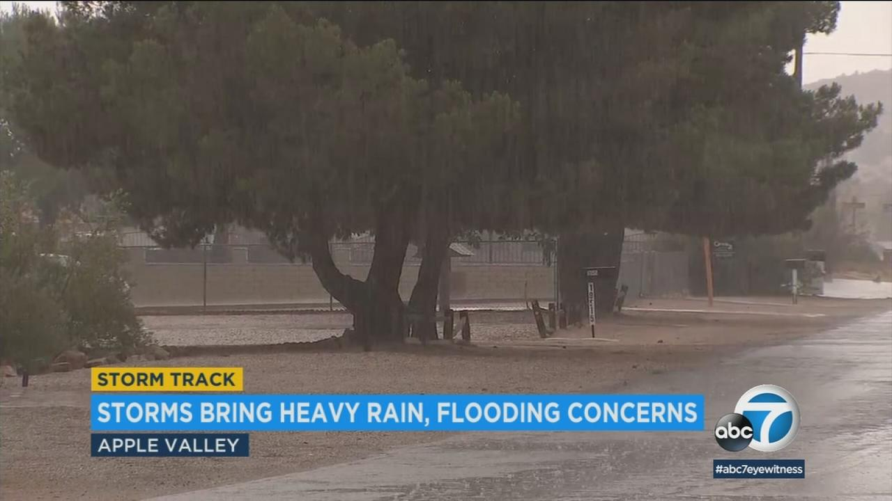 Heavy rainfall in Apple Valley and San Jacinto has prompted flooding concerns as vehicle struggle to navigate the soaked roadways.