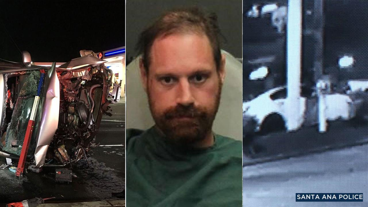 David Brihn is pictured alongside images of a Santa Ana crash that hes accused of causing on early Wednesday, July 11, 2018.