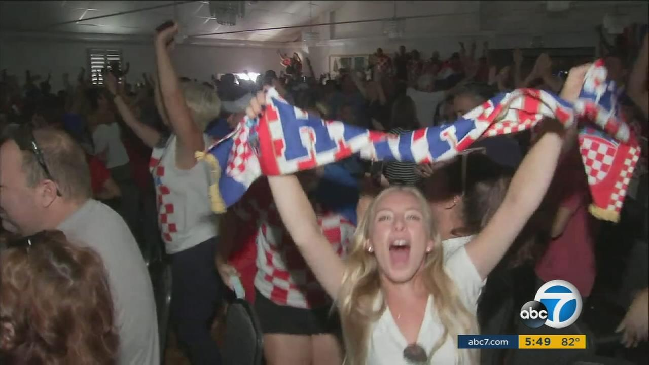 Fans of Croatia and England cheered on their teams at L.A. watch parties.