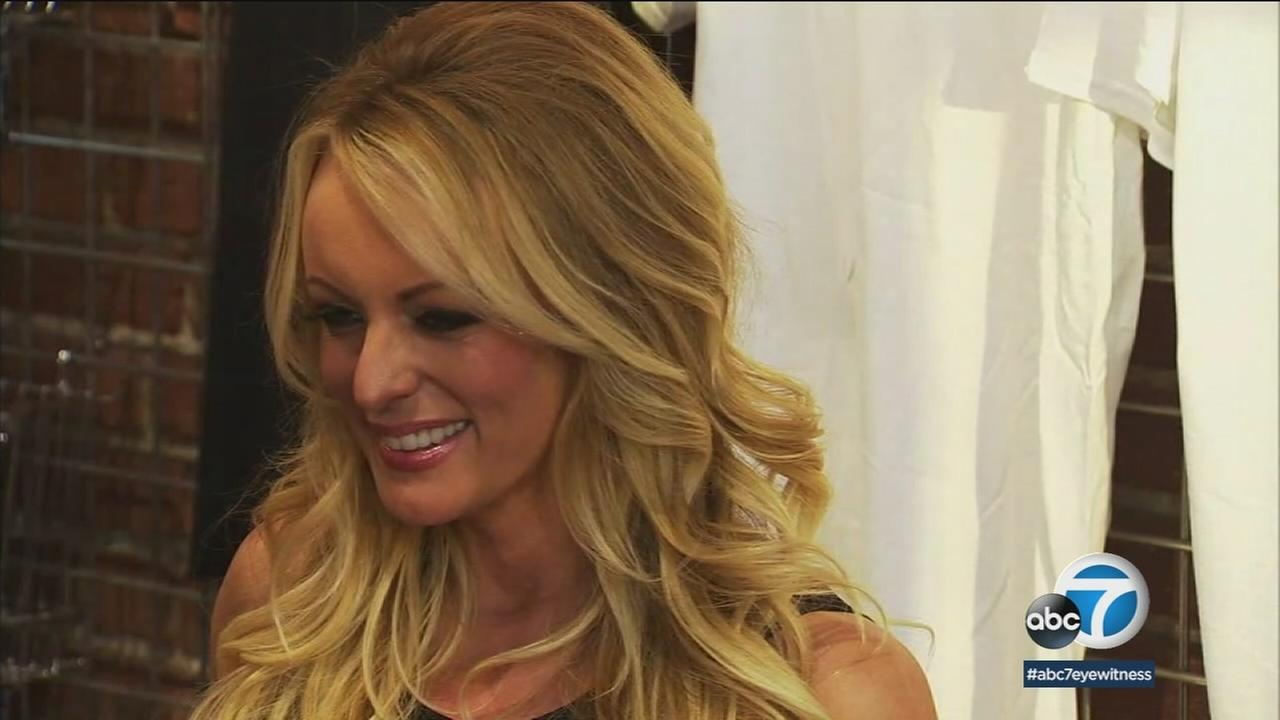 Porn star Stormy Daniels is shown during her Key to the City ceremony in West Hollywood.