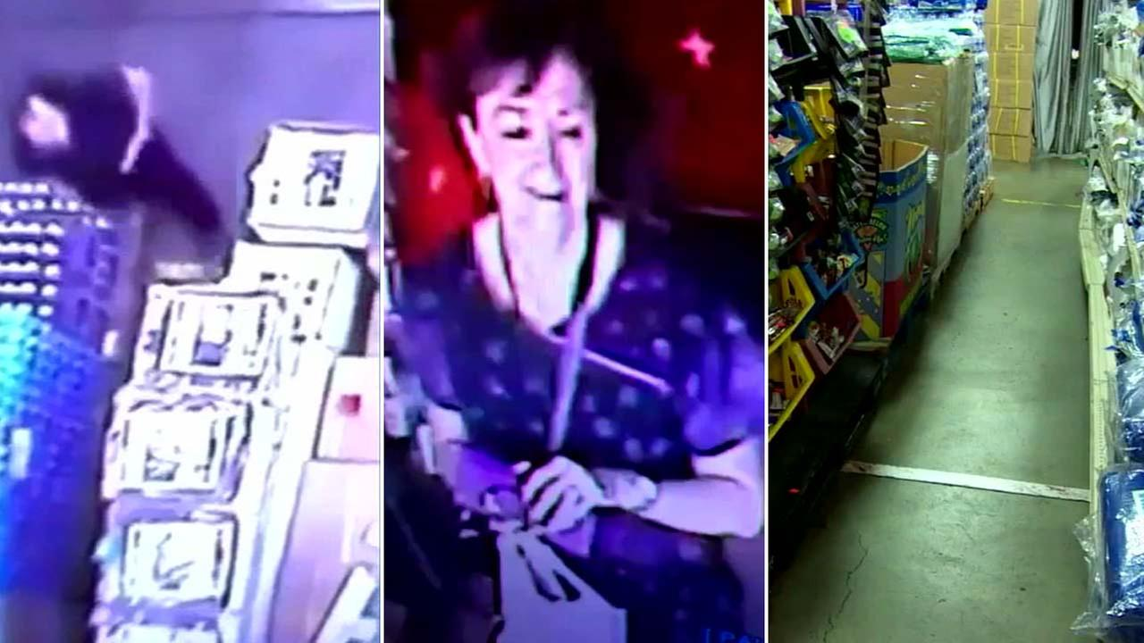 A woman, who defecated inside a Washington business, is seen on surveillance images.