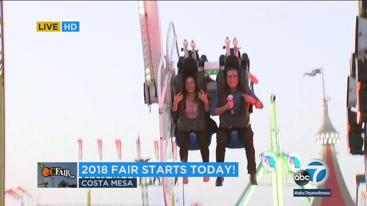 ABC Eyewitness News reporter John Gregory tested out a thrill ride at the OC Fair, smartly before trying some of the crazy featured cuisine.