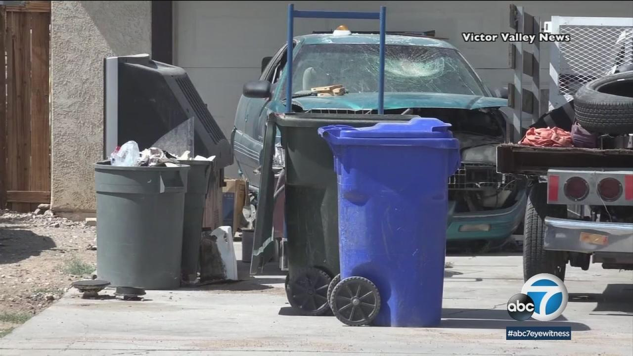 When deputies responded to a Victorville residence last Sunday regarding a possible deceased body, a police dog led authorities to a trash can containing cemented human remains.