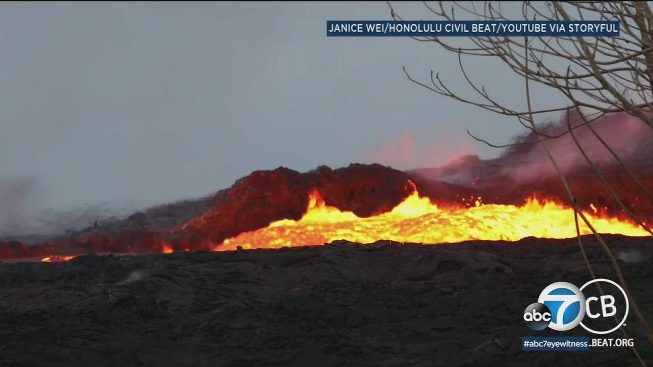 A woman captured footage of the fast-moving lava river flowing from one of the fissures a few hours after the 3.5-magnitude earthquake at Kilaueas summit on Thursday.