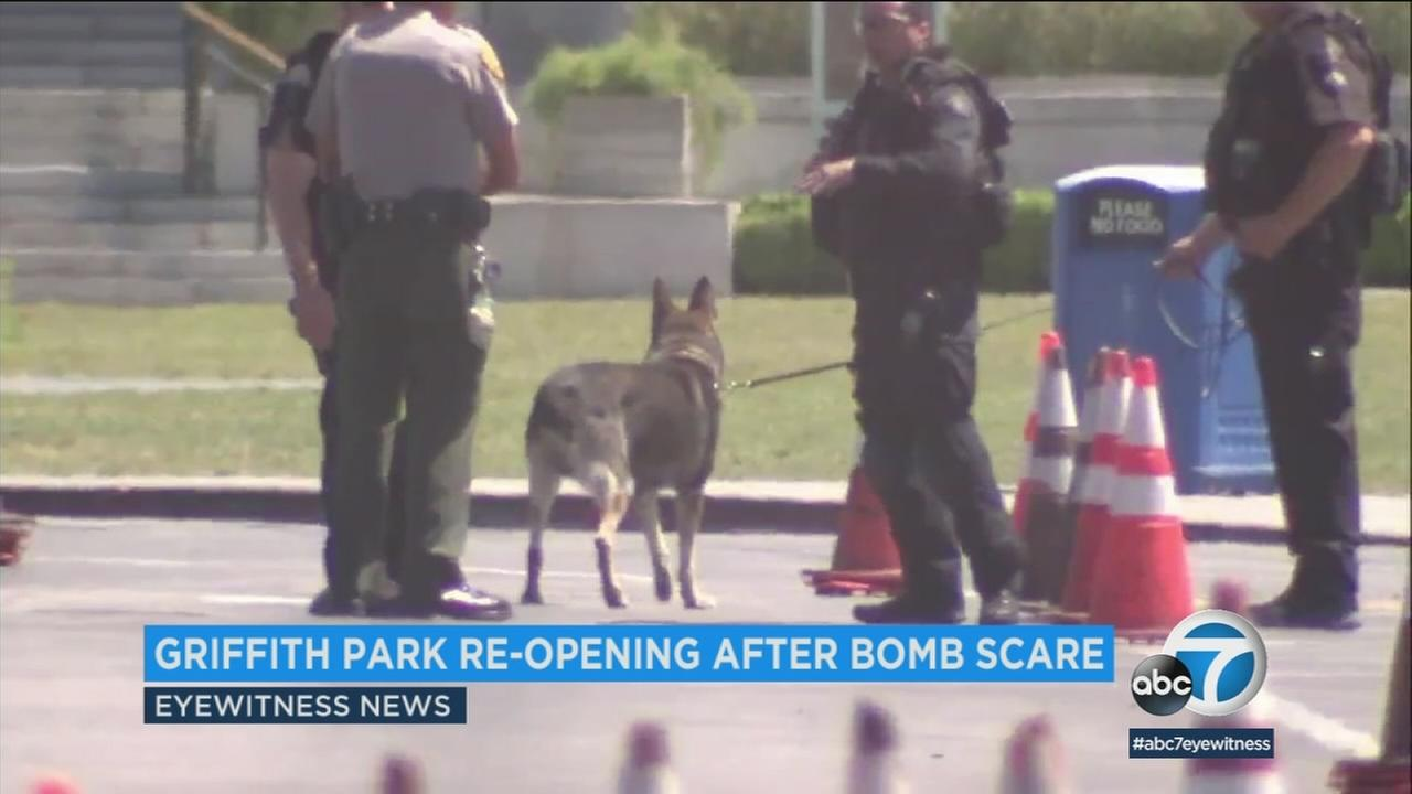 Griffith Park and Observatory reopened as scheduled Sunday morning following Saturdays suspicious package scare that forced a complete evacuation.