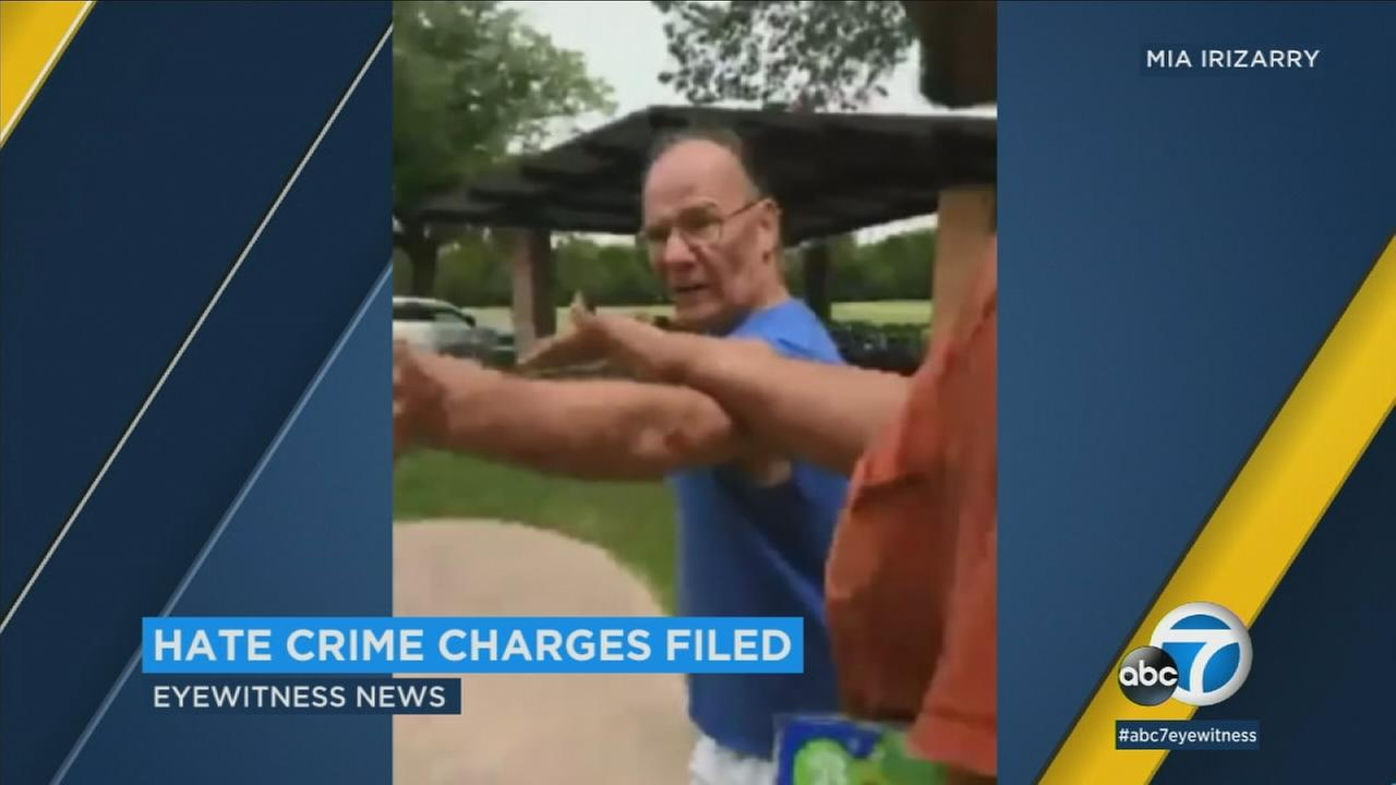 An Illinois man has been charged with a felony hate crime after video footage showed him harassing a women wearing a shirt with a Puerto Rican flag on it.