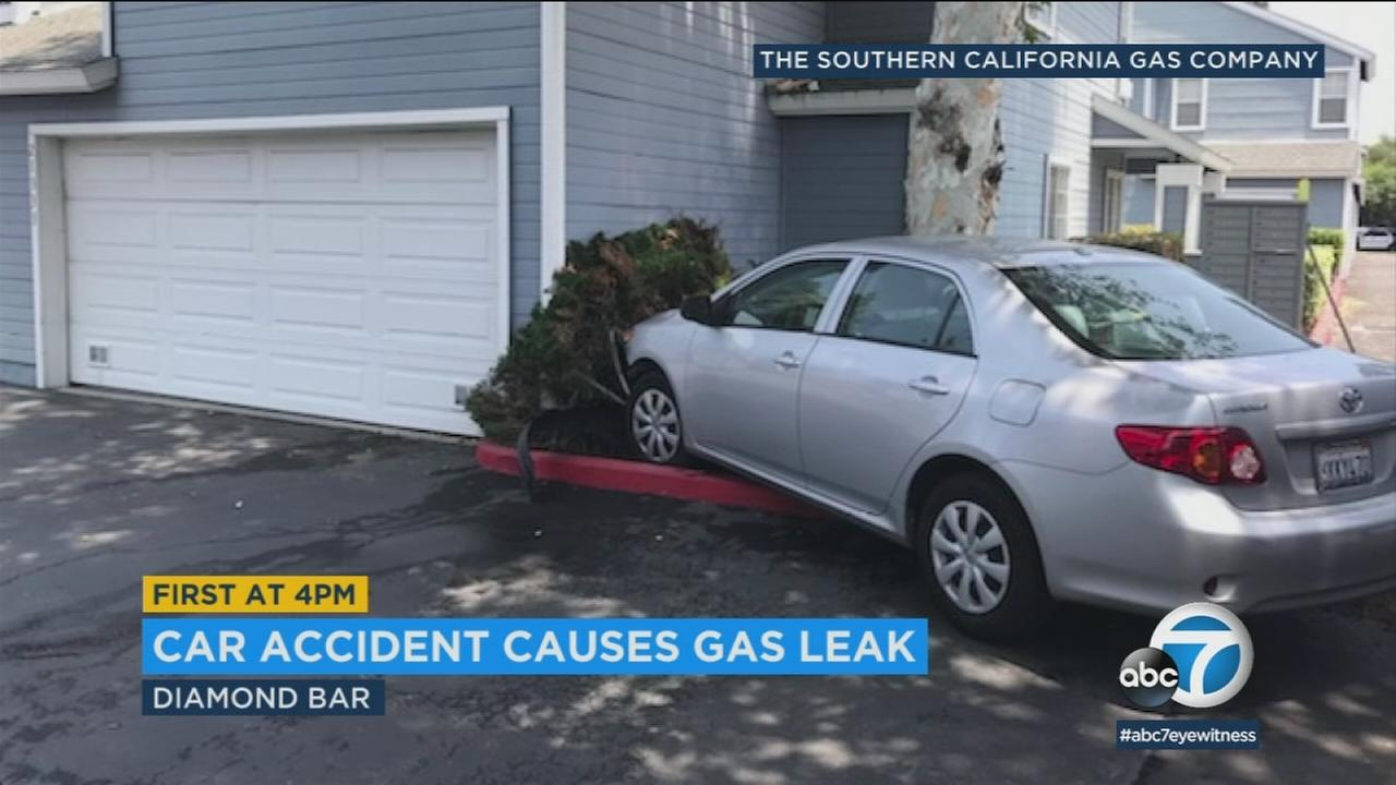 A car crash severed a gas line in a residential neighborhood in Diamond Bar Sunday, leading to the evacuation of about 30 local residents.
