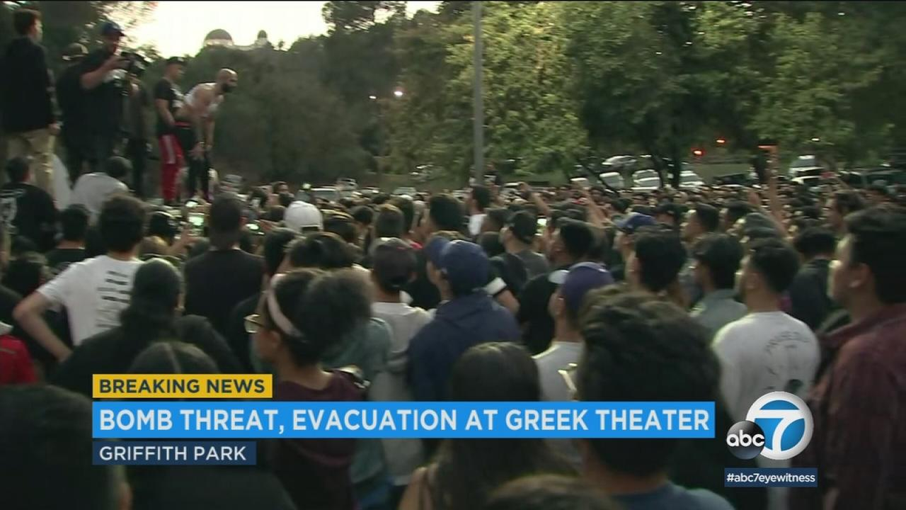 A bomb threat forced the cancellation of a concert at the Greek Theatre Sunday night.