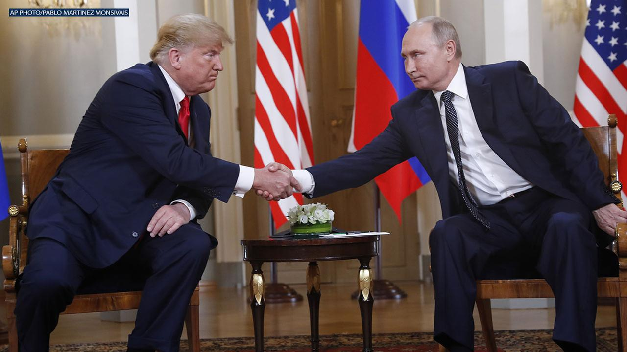 The summit began just hours after Trump blamed the United States - and not Russian election meddling or its annexation of Crimea - for a low-point in U.S.-Russia relations.