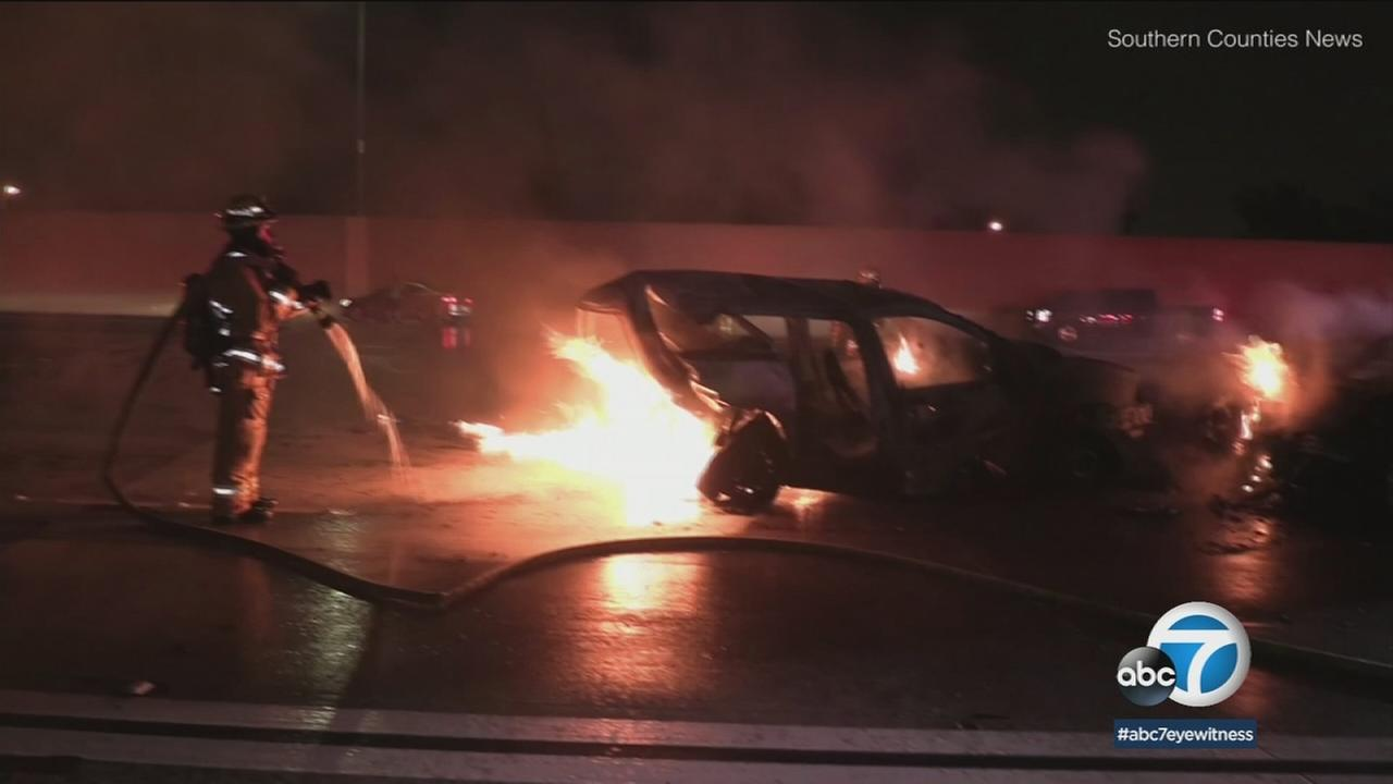 The DUI suspect driving in a car reportedly rear-ended a minivan, which caused both vehicles to catch fire.