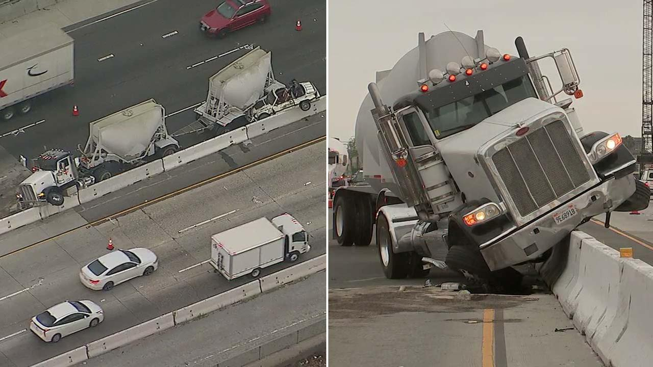A big rig and another vehicle ended up smashed against the center divider on the 5 Freeway in Buena Park on Monday, July 16, 2018.