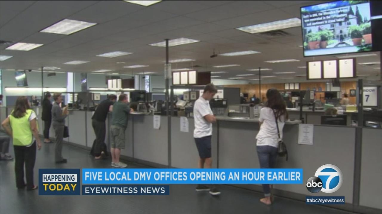 The DMV offices in Lincoln Park, Newhall, Pomona, Santa Ana and Winnetka each opened at 7 a.m.