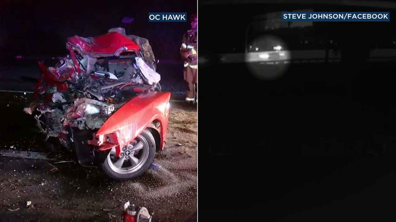 Surveillance video, right, shows a Mustang traveling the wrong direction on the 60 Freeway. That Mustang, left, ended up crashing into an SUV.