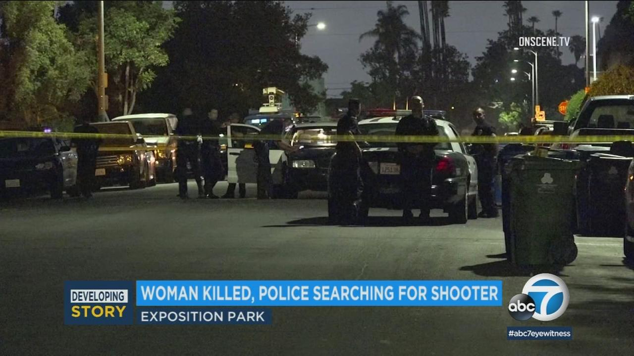 Authorities have released the name of a 32-year-old woman who was shot and killed Monday evening in Exposition Park.