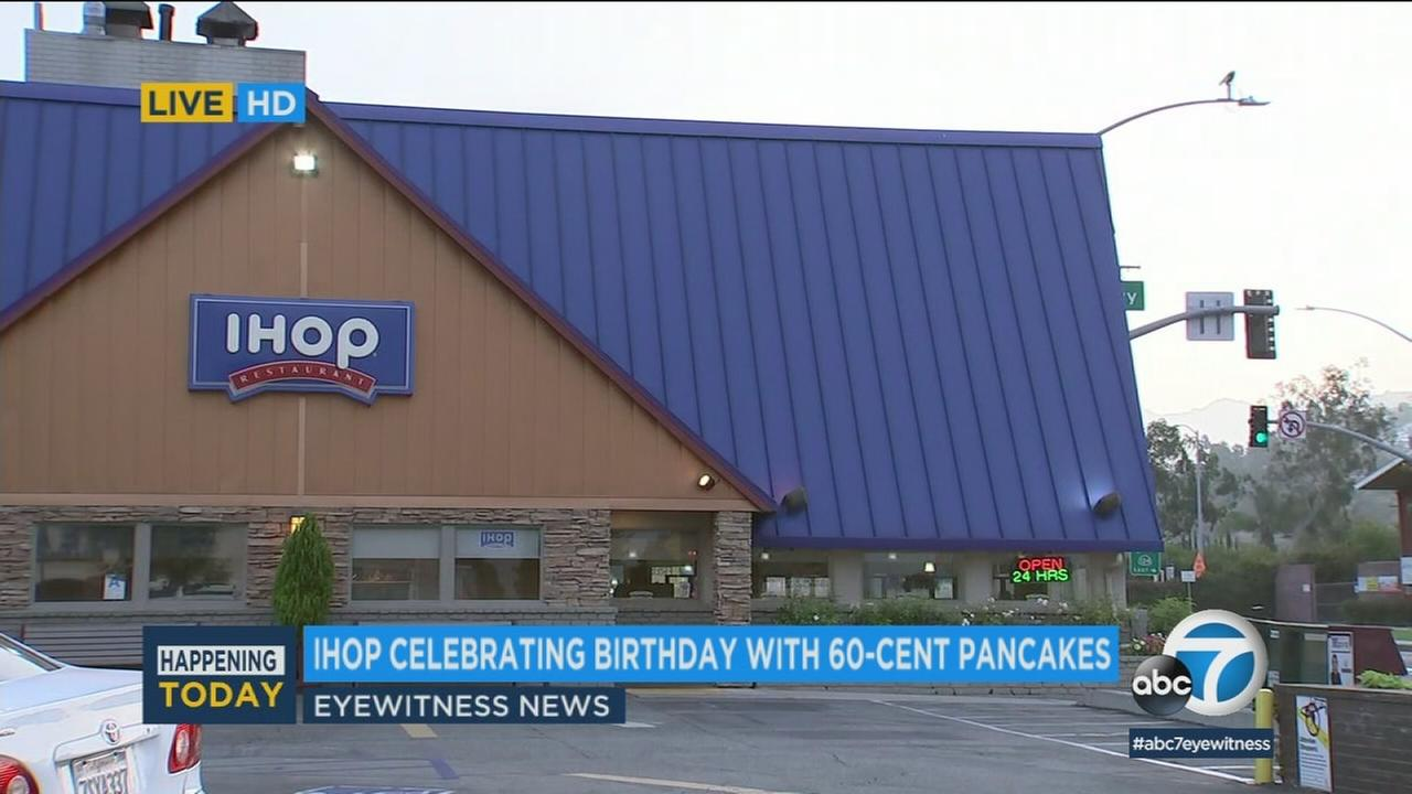 IHOP is offering three hotcakes for just 60 cents today to mark its 60th anniversary.