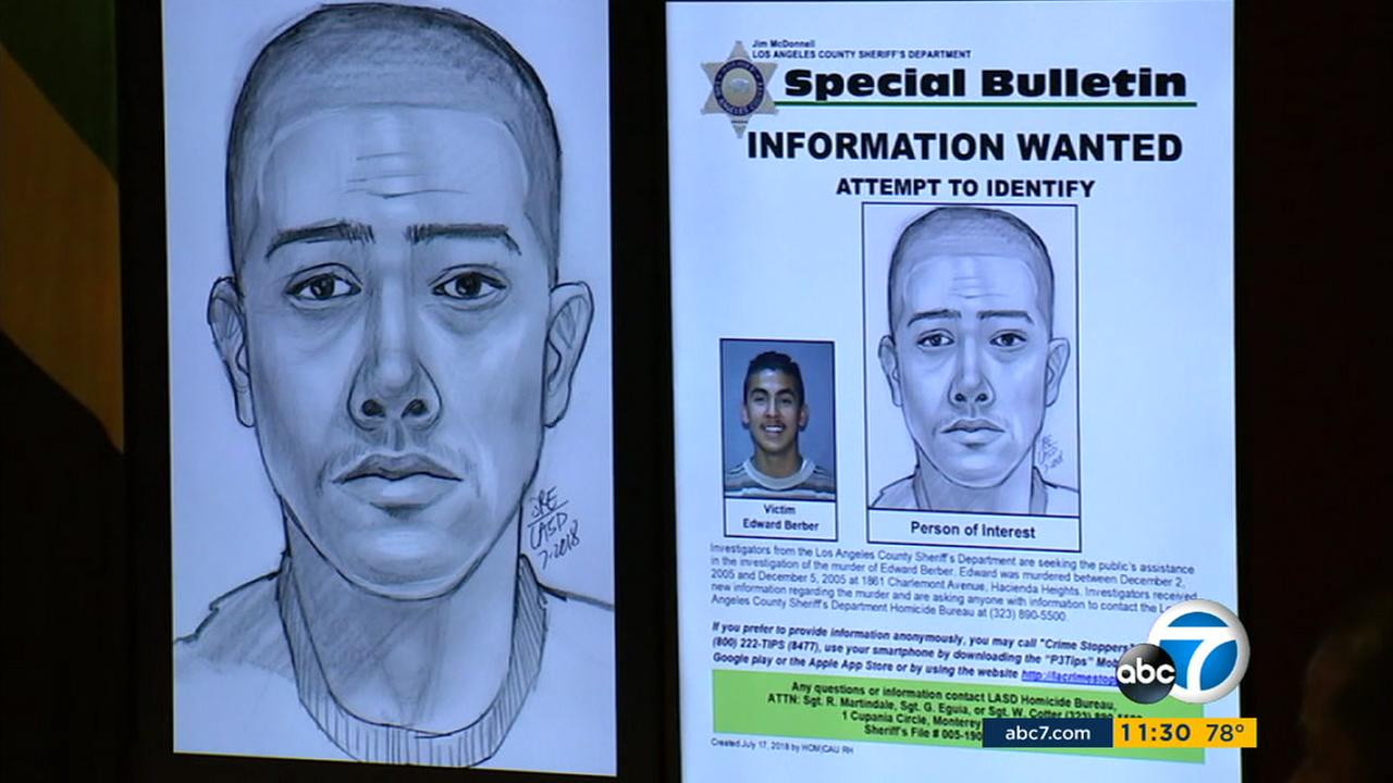 The LASD on Tuesday, July 17, 2018, released a sketch of a person of interest in a 2005 unsolved murder that took place in Hacienda Heights.