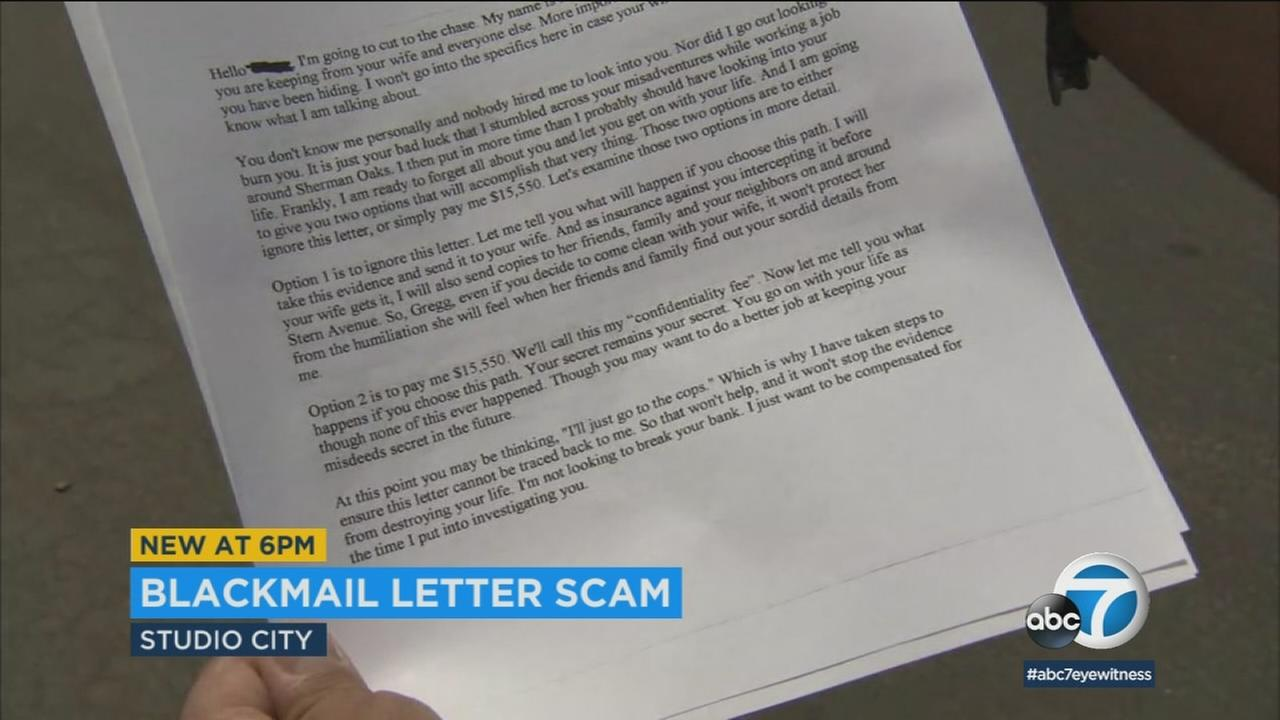 A letter sent by someone attempting to blackmail people in a Studio City neighborhood is shown in a photo.