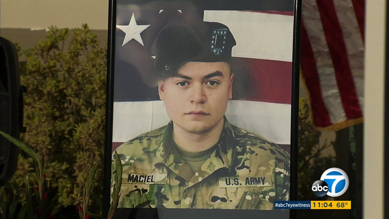 Cpl. Joseph Maciel, 20, is shown in a photo during his memorial service in South Gate.
