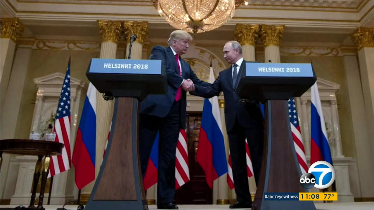 President Donald Trump and Russian President Vladimir Putin at the Helsinki summit on Monday, July 16, 2018.