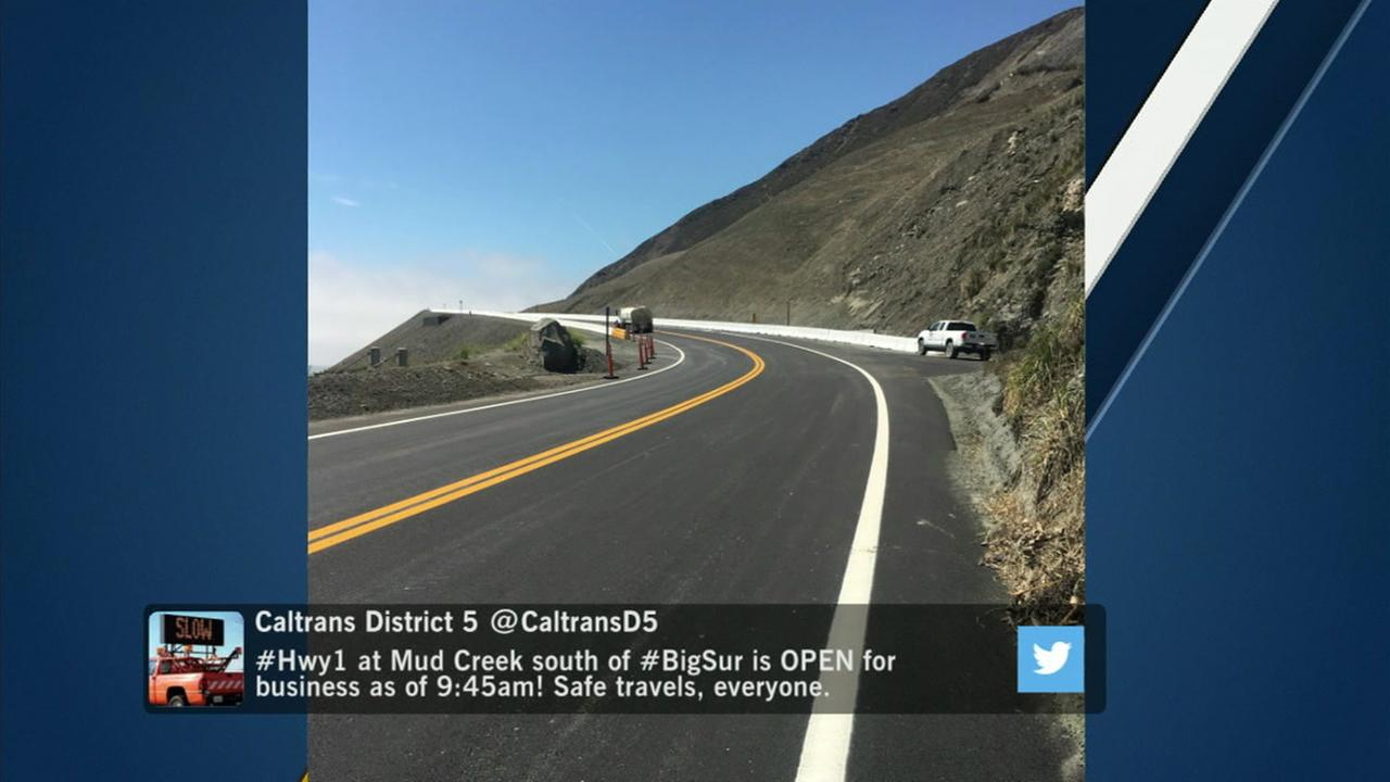 A section of Highway 1 blocked by a landslide in Big Sur last year has reopened.